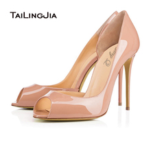 2016 Elegant Womens Red Nude Patent Leather Open Shank OL Dress Pumps High Heel Evening Shoes Ladies White Wedding Party Shoes