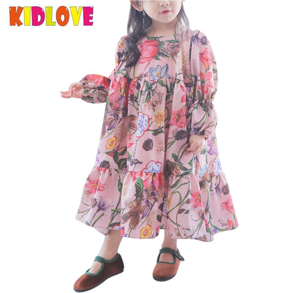 KIDLOVE Kinder Mädchen Schöne Prinzessin Kleid Langarm Blume Fee ...