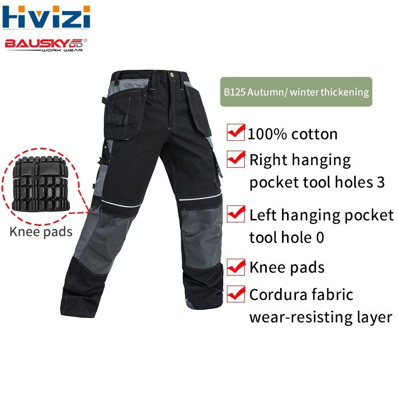 Pantalons de travail pour hommes réparation automobile assurance du travail soudage usine pantalons de travail coton vêtements de sécurité pantalons porter avec genouillère B125
