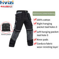 Work Pants Mens Auto Repair Labor Insurance Welding Factory Work Trousers Cotton Safety Clothing Pants Wear With Knee Pad B125