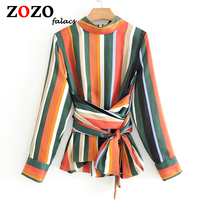 Falacs zozo秋夏スタンドカラーストライプジッパーファッションオフィスレディフォーマルでサッシブラウスシャツ女性blusas