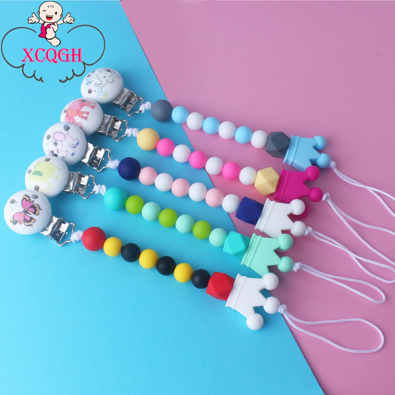 XCQGH Elephant Wooden Pacifier Clip Chain Silicone Beads Leash Strap Food Grade Crown Teether Nipple Holder 1pcs