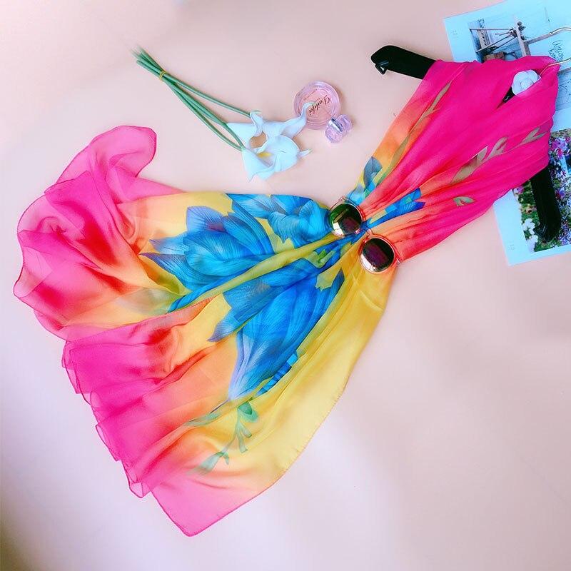 Oversize Summer Female Pareo Scarf Women Sunscreen Beach Shawls Wraps Silk Chiffon Scarves Floral Bandanna Hijab Ladies Foulard