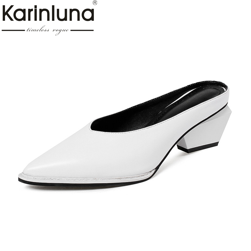 Karinluna 2018 Summer Brand Black Cow Leather Mules High Strange Heels slip-on Shoes Woman Pointed Toe Lady Casual Shoe new stylish designer lady high heels shoes pointed toe concise slip on office career shoes woman string metal bead shoe edge