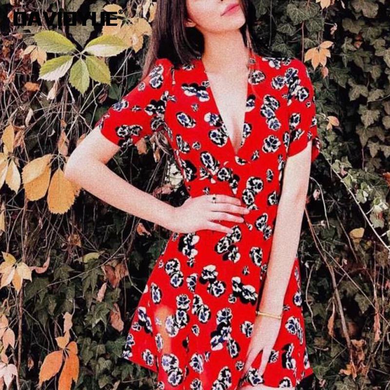 a99e0f0f3892a 2018 vintage butterfly floral print beach dress Summer short sleeve v neck  boho dress women casual mini party dresses vestidos