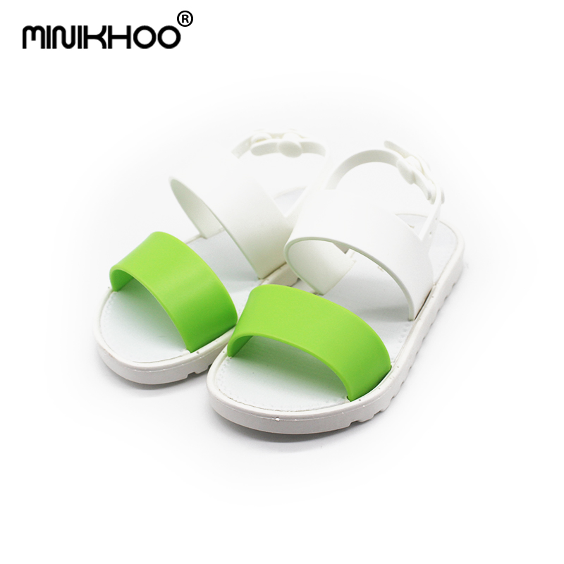 Mini Melissa Two-tone Girls Rome Sandals 2018 New Girls Sandals Children Shoes Non-slip Melissa Girl Beach Sandals Breathable