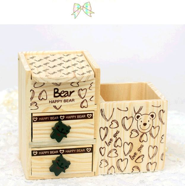 1pc cute wooden pen holder pencil container with drawer desk accessories office school supplies korea stationery