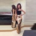 Oro brillante Falda de Lentejuelas Por Encargo de la Piso Longitud Larga Falda Sirena Sexy Completo Maxi Faldas de Las Mujeres Estilo de La Moda