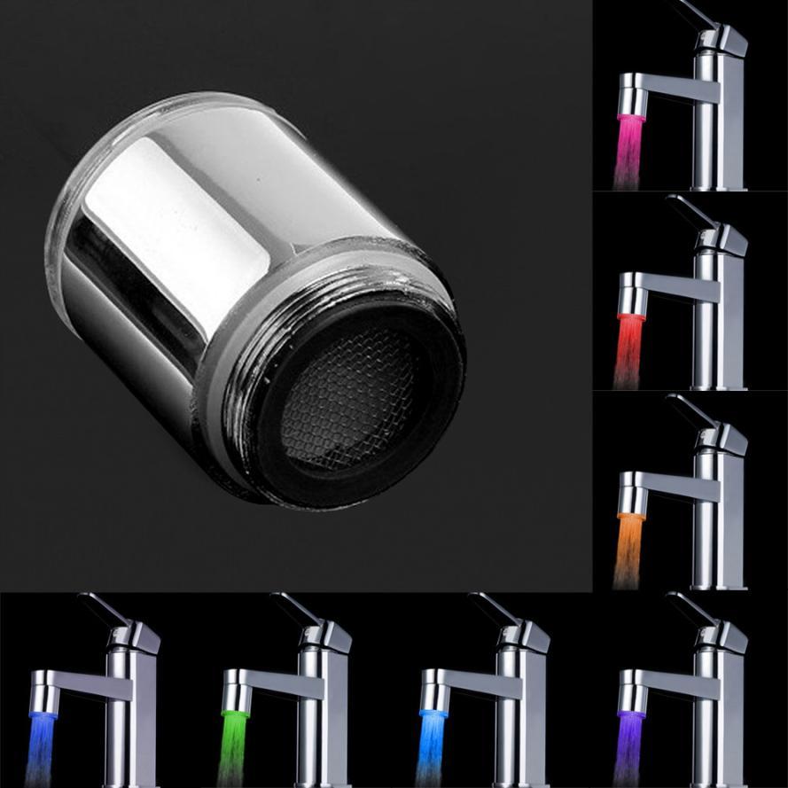 Новый квалифицированные Chrome светодиодный кран Термометры 7 цветов Кухня Водопроводной воды кран Glow душ светодиодные Dropship d45au22a