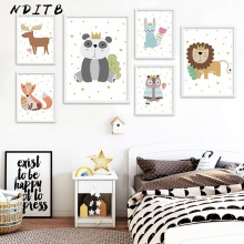 NDITB Woodland Animal Owl Lion Bunny Canvas Posters Baby Nursery Wall Art Print Cartoon Painting Nordic Kids Decoration Pictures