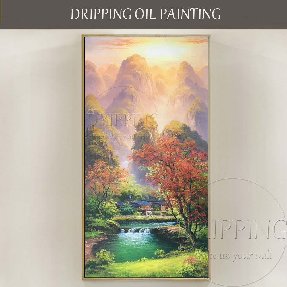 Skilled Artist Pure Hand-painted High Quality Impressionist Landscape Oil Painting on Canvas Mountain and Country Oil Painting image