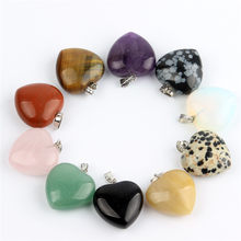 Assorted Natural stone Heart Pendants Pendulum Crystal Opalite Chakra Healing Crystal Reiki Beads Free shipping(China)