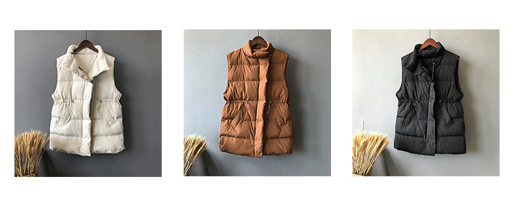 Winter Long Sleeveless Vest Coats Women Stand Neck Slim Cotton Padded Jacket Vests Korean Fashion Zipper Jacket Woman Waistcoat