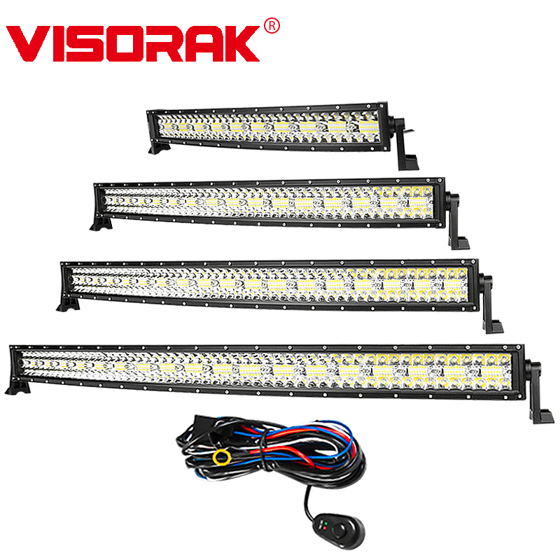 VISORAK 3-Row Curved LED Light Bar Spot Flood Combo Beam IP68 Offroad LED Work Light Bar For 4x4 4WD 12v 24v LED ATV Light Bar partol 22 200w dual row curved led light bar offroad work light spot flood combo beam 4x4 4wd led bar 12v for jeep suv truck