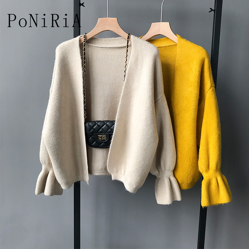 Knitted Sweater for 45kg 65kg/99lb 143lb Autumn Winter women's knitting sweaters woman soft warm open stitch cardigans solid