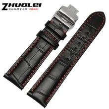 Bracelet de montre 18mm 20mm 22mm New Mens En Cuir Véritable Bracelet De Montre Silver Band Montre Boucle