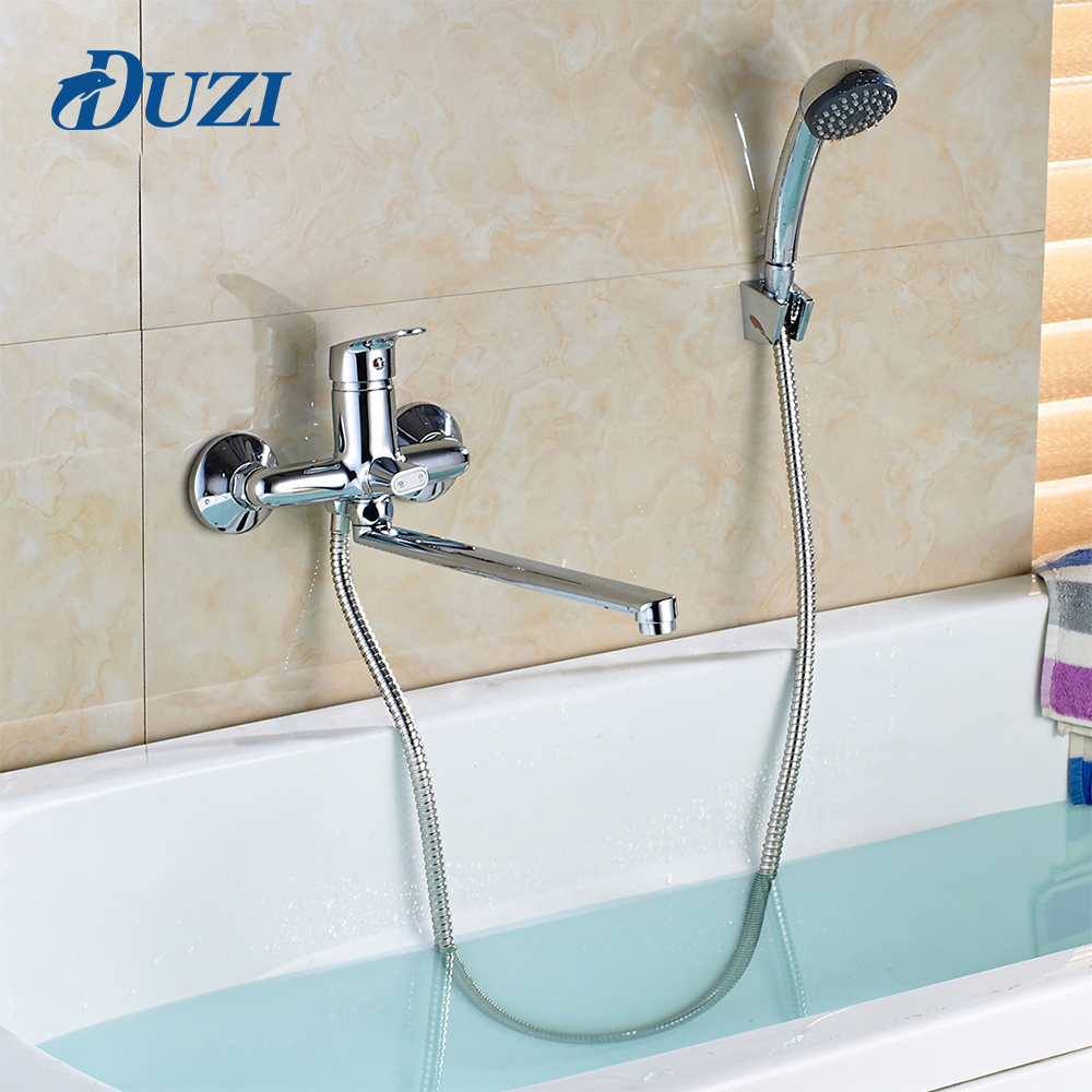 DUZI Wall Mounted Chrome Brass Bathtub Faucet With ABS Hand Shower Bathroom Bath Shower Faucets Shower Rack With Mixer Tap D5102 polished chrome double cross handles wall mounted bathroom clawfoot bathtub tub faucet mixer tap w hand shower atf902