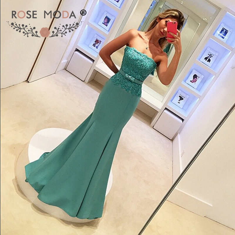 Rose Moda Blue Mermaid   Evening     Dress   with Bow Long Formal Party   Dress   for Wedding Custom Made