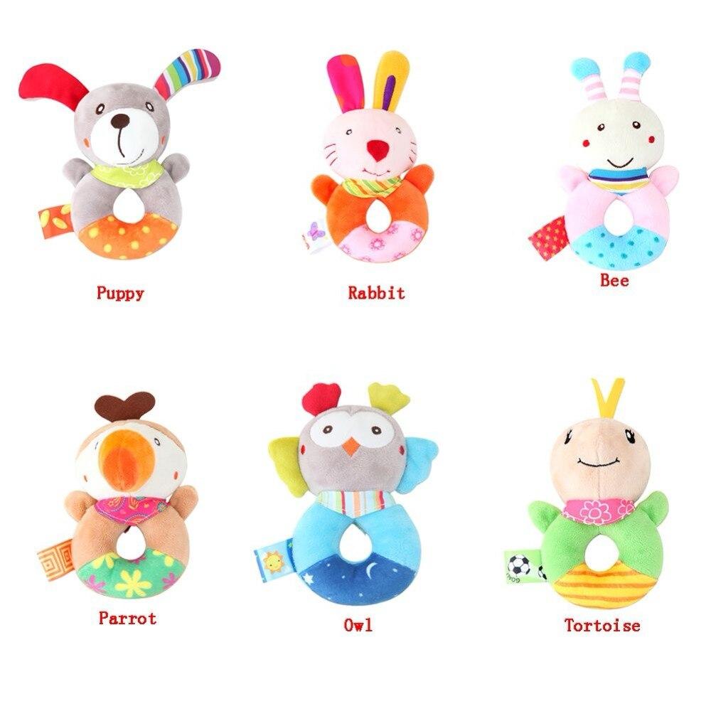Bébé bande dessinée Animal en peluche hochet anneau cloche nouveau-né main saisir jouets doux Mobile bébé berceau poupées