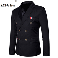 New 2018 Slim Casual Suits Men S Double Breasted Spring High Quality Fashion Party Patchwork Color
