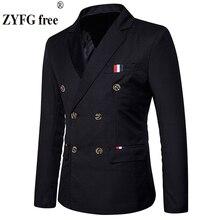 """חדש 2019 Slim מזדמן חליפת מעיל גברים של טור כפתורים כפול סתיו חורף אופנה מסיבת מוצק צבע fit חליפת מעיל גברים איחוד אירופי /ארה""""ב גודל"""