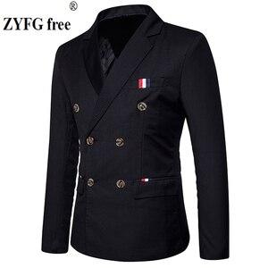 Image 1 - 新 2019 スリムカジュアルスーツのジャケットの男性のダブルブレスト秋冬ファッションパーティー無地フィットスーツコート男性 EU/us サイズ