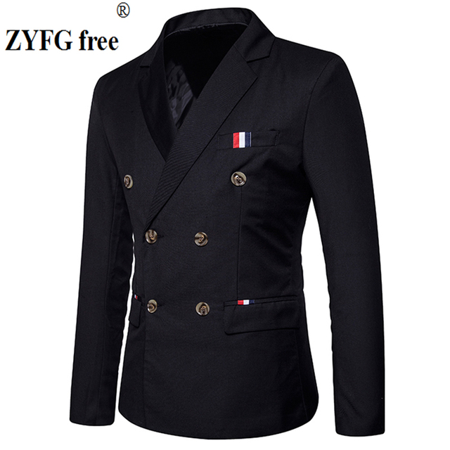 新 2019 スリムカジュアルスーツのジャケットの男性のダブルブレスト秋冬ファッションパーティー無地フィットスーツコート男性 EU/us サイズ