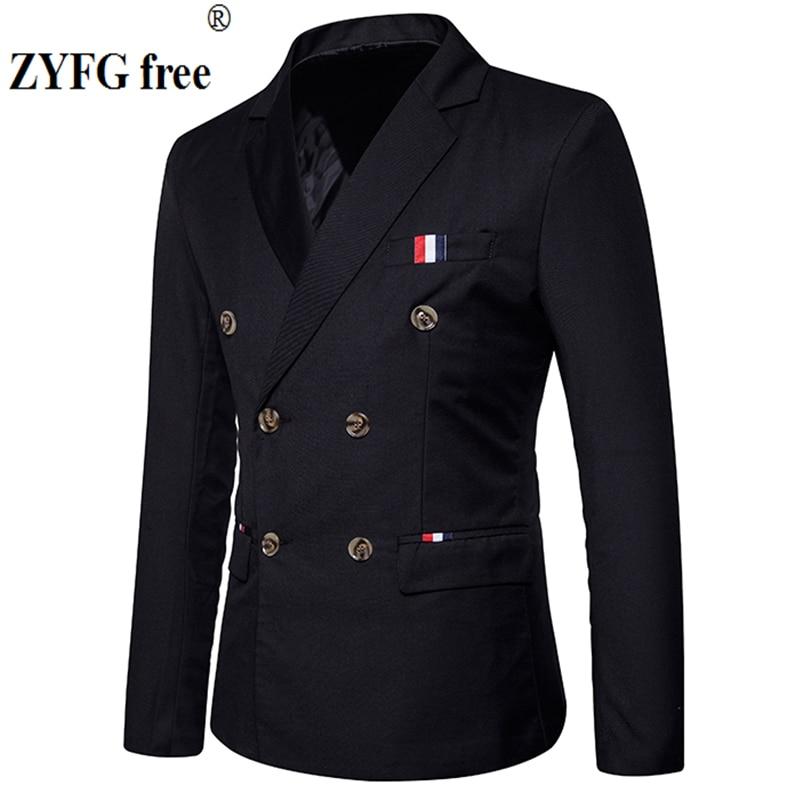 New 2019 Slim Casual Suit jacket Men's double breasted autumn winter fashion Party solid color fit suit coat men EU/US size