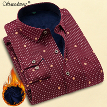 Polka Dot Shirt Men Long Sleeve Slim Fit Mens Checked Shirt Thichen Warm Mens Casual Shirt Winter Cotton Male Plaid Shirts 4XL polka dot long sleeve casual shirt