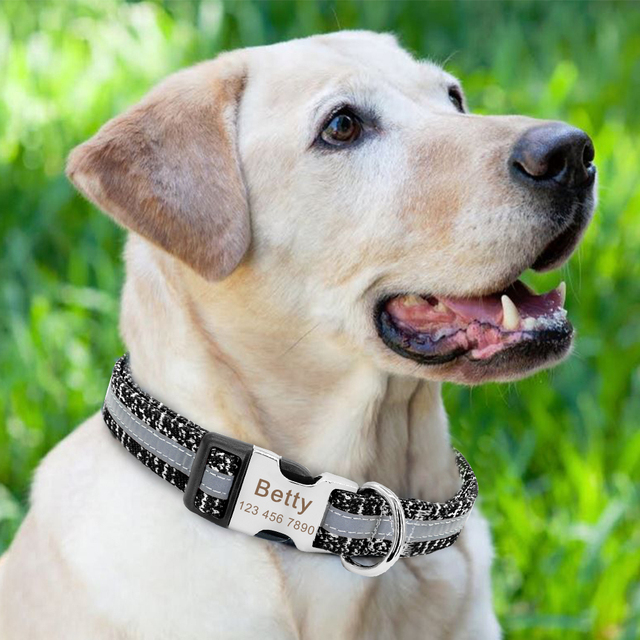 Dog Collar Personalized Reflective Dog Collars Custom Engraved Name Tag Collar Anti-lost Nylon Pet Collars For Medium Large Dogs 5