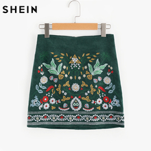 SHEIN Botanical Embroidered Cord Skirt Boho Skirts for Women Autumn Green A Line Ladies Skirts Elegant Above Knee Skirt