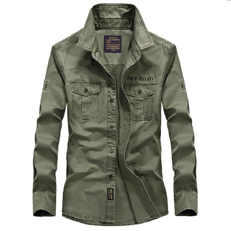 Бренд AFS JEEP рубашка мужская мода хлопок весна осень длинный рукав приталенная Военная Мужская рубашка сплошной цвет плюс размер S-4XL Топы