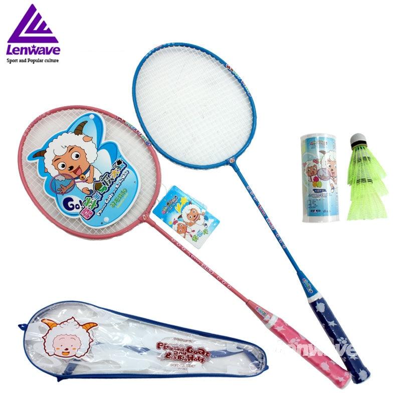 1 pair badminton racquet+3 pcs badminton kids badminton Sports Training Children Cartoon favorite badminton racquet