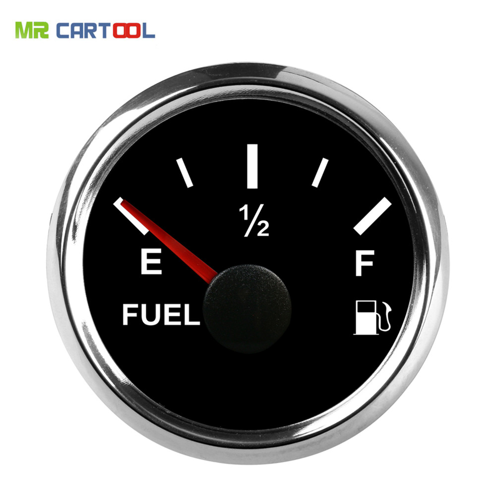 Universal 52MM 2 Black Digital fuel gauge E-1/2-F Fuel Level sensor auto Meter Gauge 0-190ohm Signal Car Modification