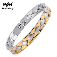 WelMag Geometric Magnetic Titanium Bracelets Bangles For Women Improve Blood Circulation Male Bracelets Healing Jewelry
