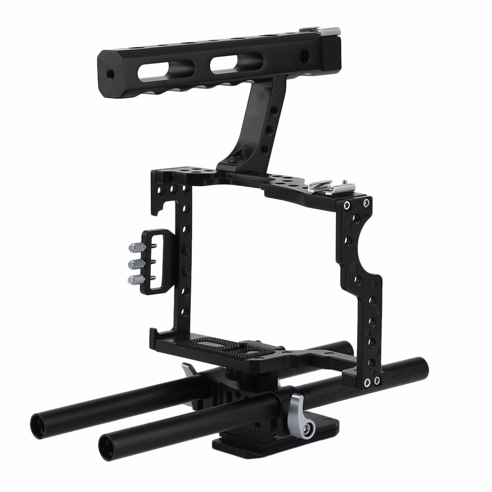 NEW Camera Cage Stabilizer Kit Rod Rig DSLR Camera Video Cage Kit Stabilizer & Top Handle Grip for Camera