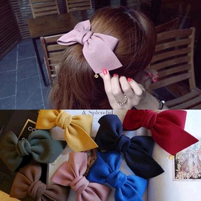 2016 New Arrival Big Solid Cloth Bows Hair Clips Hairpins Hair Accessories for Women Girl Wedding Hair Jewelry Free shipping 2