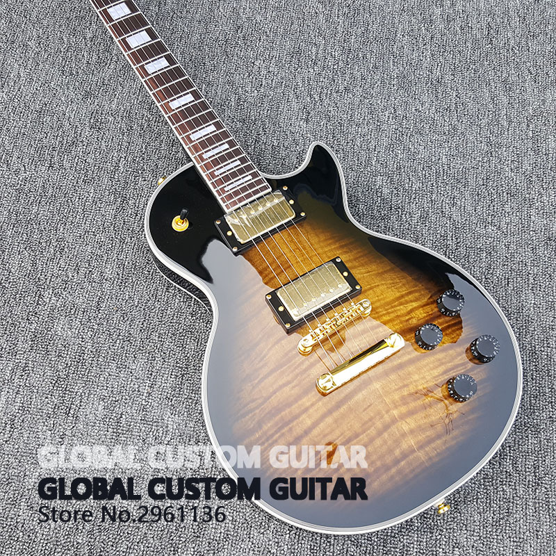 все цены на Wholesale Custom shop 1959 R9 Tiger Flame electric guitar Standard LP  electric guitar HOT!Free shipping онлайн