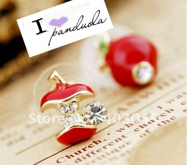 Free Shipping Lovely Red Apple Earrings Asymmetric Red Apple Fruit Earrings Stud 48pairs/lot