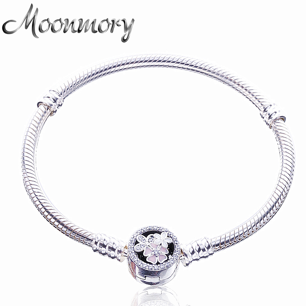 Moonmory New 925 Sterling Silver Micke Snake Chain Bracelet With Clasp Fit For DIY Charms Snake Bracelets For Woman Jewelry