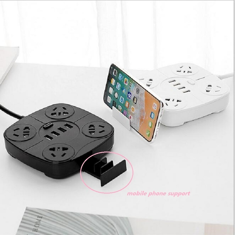 New Smart Power Strip 4USB Fast Charging Square wiring board 4 Plug anti thunder China standard