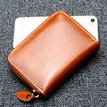 Fashion Card Bag Genuine Leather Women Men Mini Wallet Oil Wax Leather Short Cowhide Card Holder Zipper Coin Purse 4 color