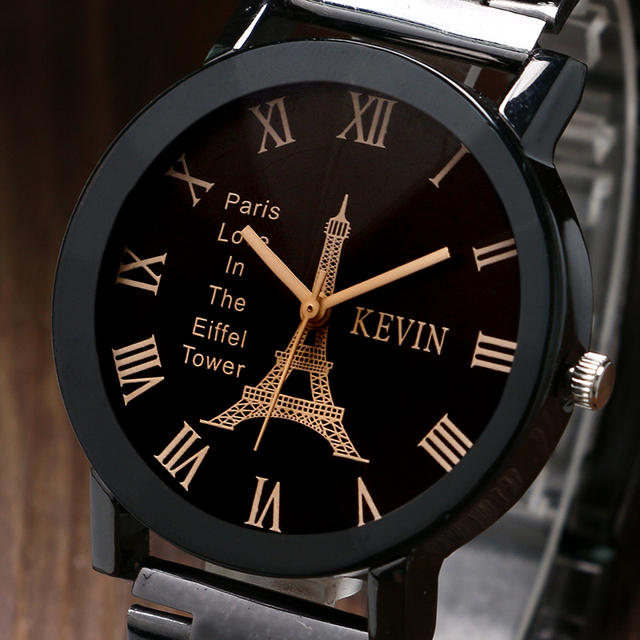 KEVIN Fashion Paris Eiffel Tower Dial Wrist Watch Women Lady Vintage Stainless Steel Quartz Gift for Girlfriend Creative Clock
