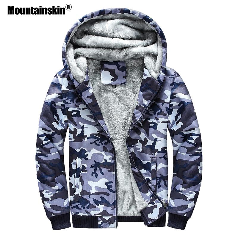 Mountainskin Camouflage Hoodies Autumn Winter Men Tracksuit Thick Army Coats Men's Sweatshirts Fleece Hooded Jackets 5XL SA689