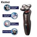 Design ergonômico kemei recarregável 5d flutuante barbeador elétrico lavável aparador de barba navalha de barbear machine7447 ipx4 à prova d' água