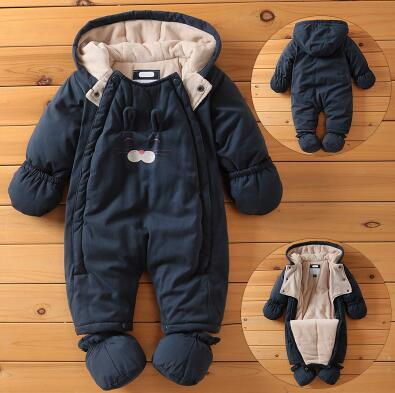 Baby Rompers Newborn Winter Windproof Rompers Children Warm Outdoor Rompers Kids Jumpsuits