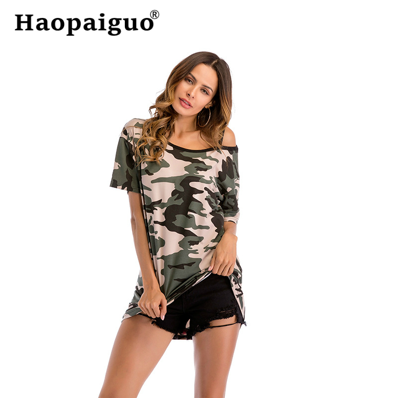 M XXL Plus Size 2019 Summer Women Camouflage T shirt Tshirts Casual Tops Tee Harajuku Vintage White Shirt Woman Clothing Female in T Shirts from Women 39 s Clothing
