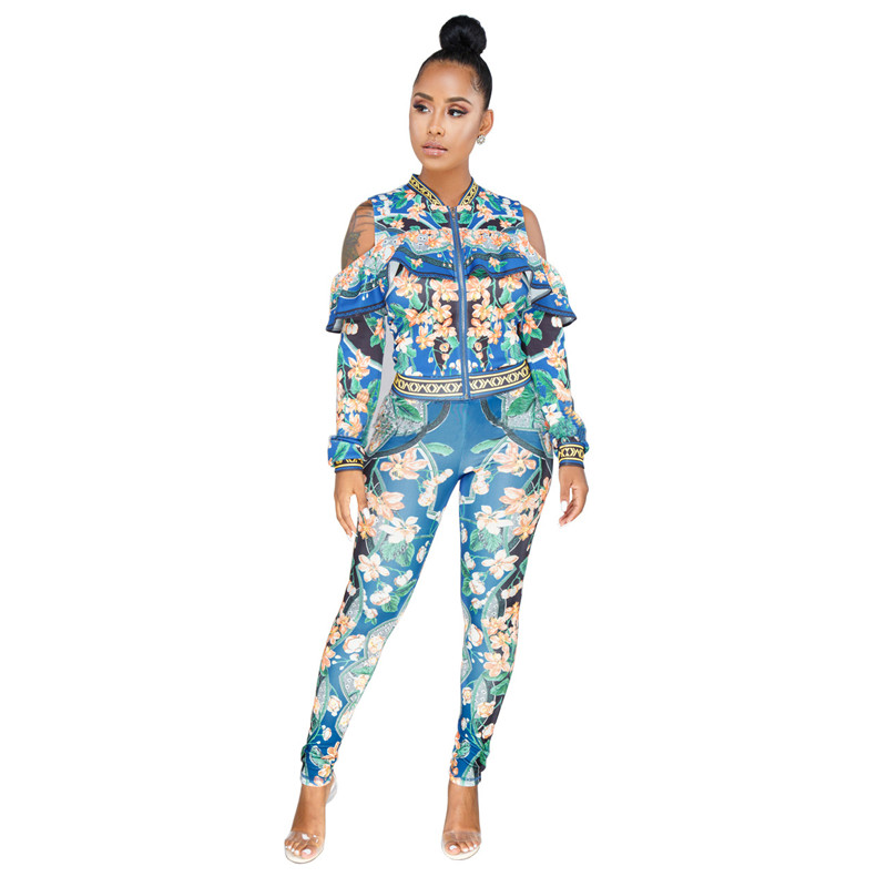 Plus Size Sweat Suits Women Tracksuit Set Cold Shoulder Ruffle Zipper Jacket And Pant Ladies Leisure Suit Floral Two Piece Set