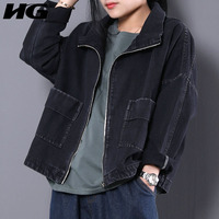 HG New 2018 Spring Korea Casual Women Full Sleeve Turn Down Collar Short Coats Female