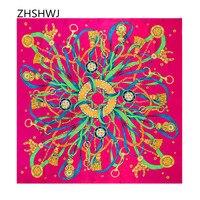 [ZHSHWJ] Free Shipping 100% Silk Scarf Fashion Shawl 130cm * 130cm Women's Scarf Chain Pattern Shawl Beautiful Decorative Scarf